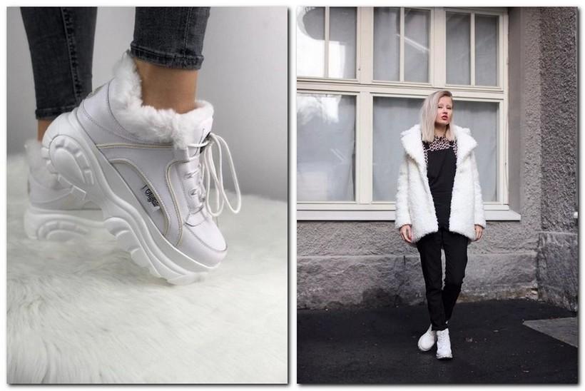 С чем носить женские зимние кроссовки с мехом: фото
