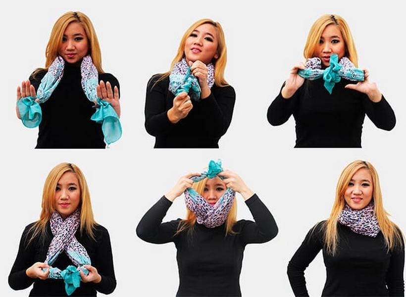 как красиво завязать шарф на пальто фото поискать фото