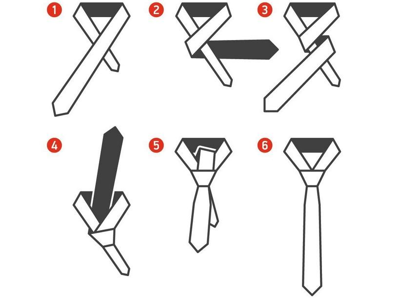 как завязать узкий галстук пошагово фото все