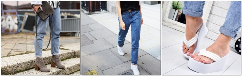 С какой обувью носить джинсы мом
